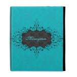 Black & Turquoise Elegant Vintage Floral Damask iPad Folio Cover