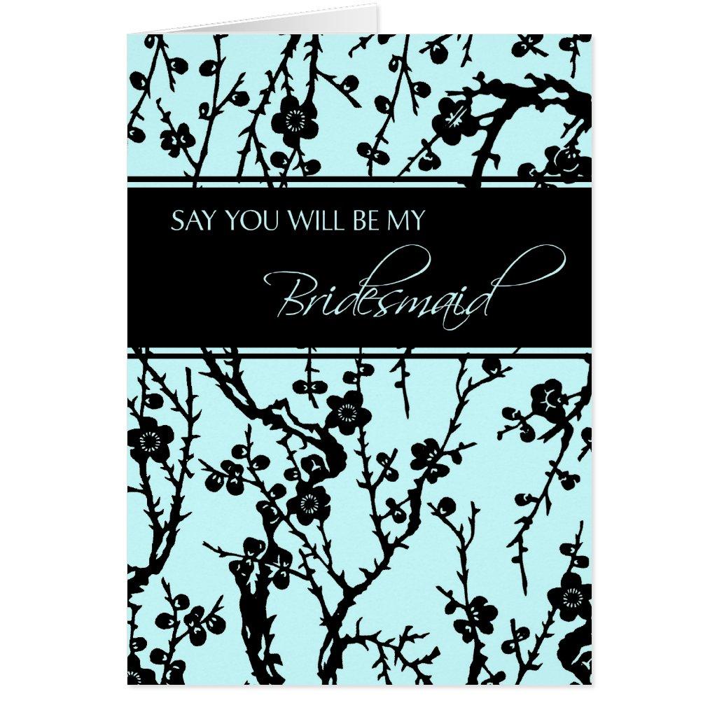 Black Turquoise Floral Bridesmaid Invitation Card