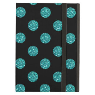 Black turquoise glitter polka dots iPad cover