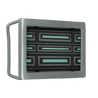 Black turquoise, gray distressed geometric pattern rectangular belt buckle