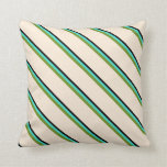 [ Thumbnail: Black, Turquoise, Green & Beige Colored Lines Throw Pillow ]