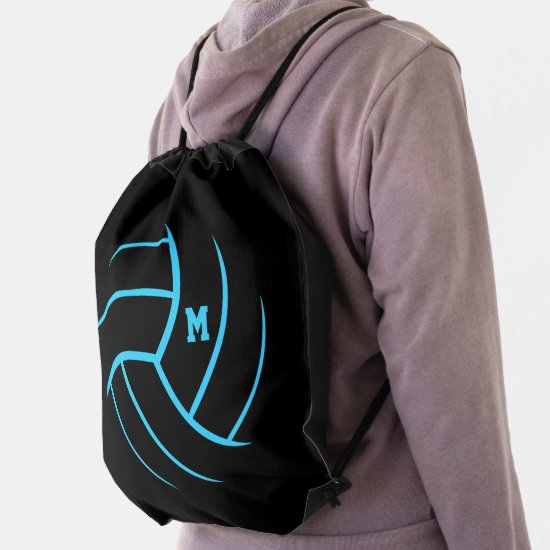 black turquoise minimalism volleyball monogrammed drawstring bag