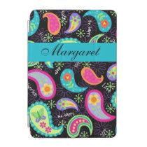 Black Turquoise Modern Paisley Name Personalized iPad Mini Cover