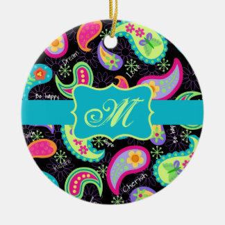 Black Turquoise Modern Paisley Pattern Monogram Ceramic Ornament