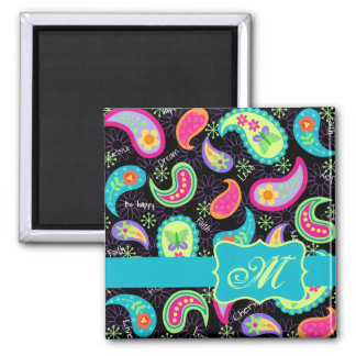 Black Turquoise Modern Paisley Pattern Monogram 2 Inch Square Magnet