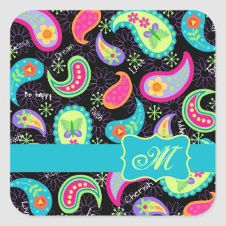 Black Turquoise Modern Paisley Pattern Monogram Square Sticker