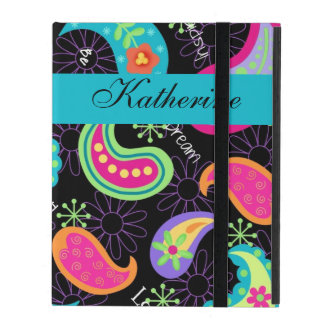 Black Turquoise Modern Paisley Personalized iPad Cover