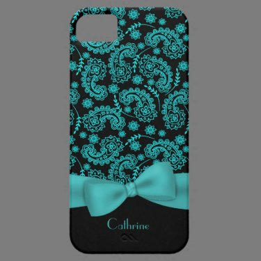 Black & Turquoise Paisley iPhone 5 Case