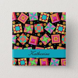 Black Turquoise Patchwork Quilt Blocks Name Badge Pinback Button