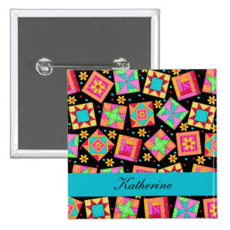 Black Turquoise Patchwork Quilt Blocks Name Badge Pinback Button