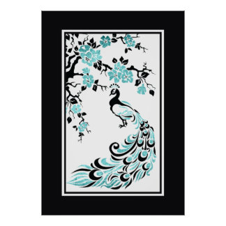 Black turquoise peacock and cherry blossoms print