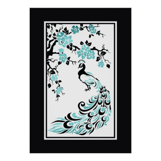 Black, turquoise peacock and cherry blossoms print