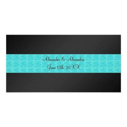 Black turquoise roses wedding favors photo card