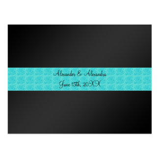 Black turquoise roses wedding favors post card
