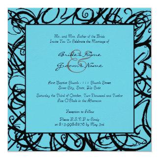 Black & Turquoise Sketchy Frame Wedding Invitation