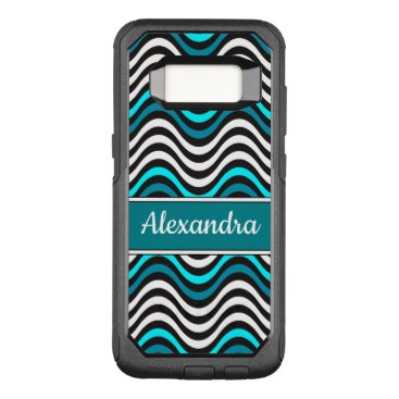 Beach Themed Black Turquoise Teal Abstract Waves Monogram Name OtterBox Commuter Samsung Galaxy S8 Case