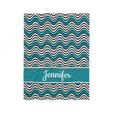 Beach Themed Black Turquoise Teal Wavy Stripes Monogram Name Fleece Blanket