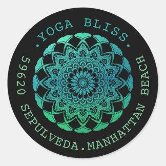 Black Turquoise Watercolor Mandala Address Label