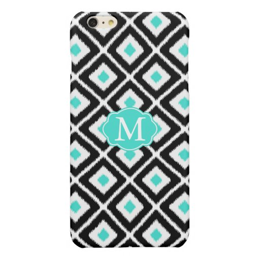 Black, Turquoise, White Ikat Diamond Pattern Glossy iPhone 6 Plus Case