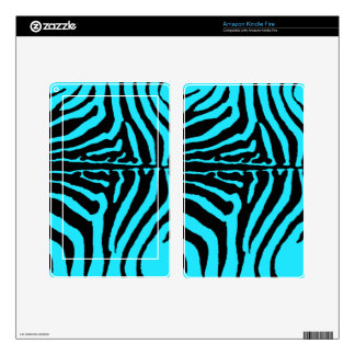Black & Turquoise Zebra Animal Print Background Decals For Kindle Fire