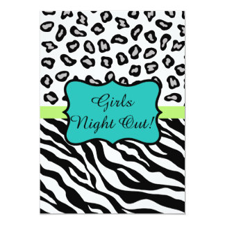 Black Turquoise Zebra Leopard Skin Girls Night Out Card