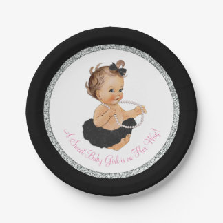 Black Tutu Ballerina Pearl Baby Girl Shower Paper Plate