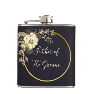 Black Tuxedo and Gold Flower , Father of The Groom Flask