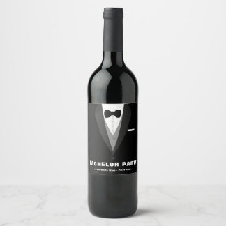 Black Tuxedo Bachelor Party Wine Label