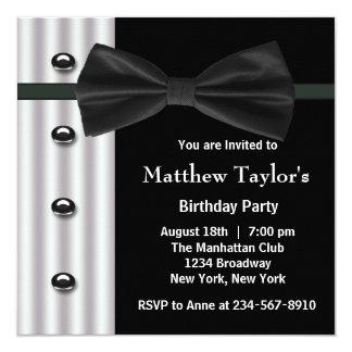 Black Tuxedo Bow Tie Mens Birthday Party Card