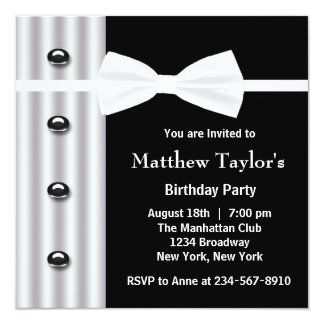 Black Tuxedo Bow Tie Mens Birthday Party Card