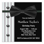 Black Tuxedo Bow Tie Mens Birthday Party Custom Announcement