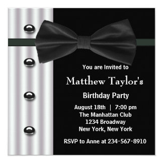 Black Tuxedo Bow Tie Mens Birthday Party Invitation