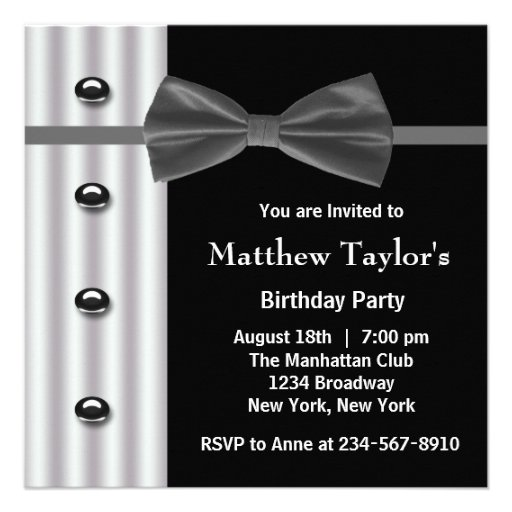 Black Tuxedo Bow Tie Mens Birthday Party Personalized Invite