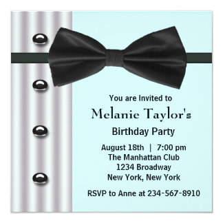 "Black Tuxedo Bow Tie Teal Blue Birthday Party 5.25"" Square Invitation Card"
