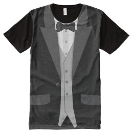 Black Tuxedo Bowtie and Vest All-Over-Print Shirt