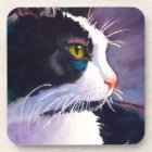 Black Tuxedo Cat in Stormy Mood Coaster