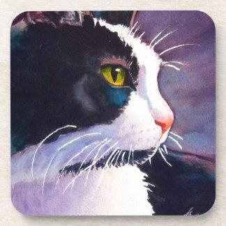 Black Tuxedo Cat in Stormy Mood Coaster
