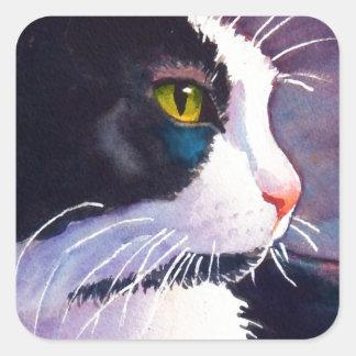 Black Tuxedo Cat in Stormy Mood Square Sticker