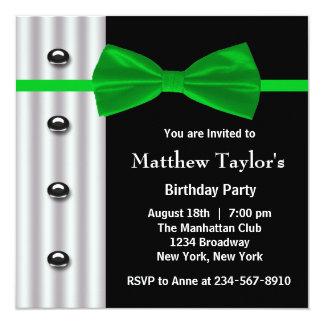 Black Tuxedo Green Bow Tie Mens Birthday Party Card