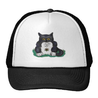 Black Tuxedo Kitten Finds a Garden Spider Trucker Hat