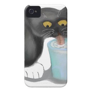 Black Tuxedo Kitten Sneaks a Glass of Milk iPhone 4 Case-Mate Case
