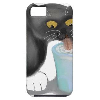 Black Tuxedo Kitten Sneaks a Glass of Milk iPhone 5 Covers