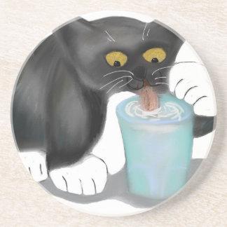 Black Tuxedo Kitten Sneaks a Glass of Milk Coaster