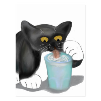 Black Tuxedo Kitten Sneaks a Glass of Milk Postcard