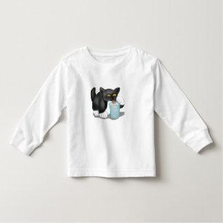 Black Tuxedo Kitten Sneaks a Glass of Milk Toddler T-shirt