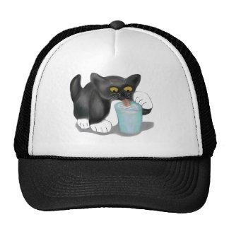 Black Tuxedo Kitten Sneaks a Glass of Milk Trucker Hat