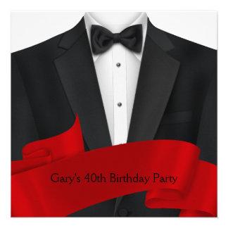 Black Tuxedo Mans Black Red 40th Birthday Party Personalized Invite