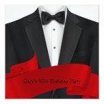 "Black Tuxedo Mans Black Red 40th Birthday Party 5.25"" Square Invitation Card"