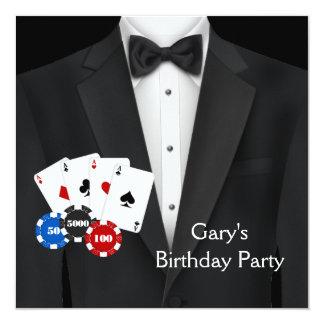 Black Tuxedo Mans Poker Birthday Party Invitation