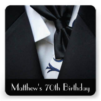 Black Tuxedo Men s 70th Birthday Party Invitation